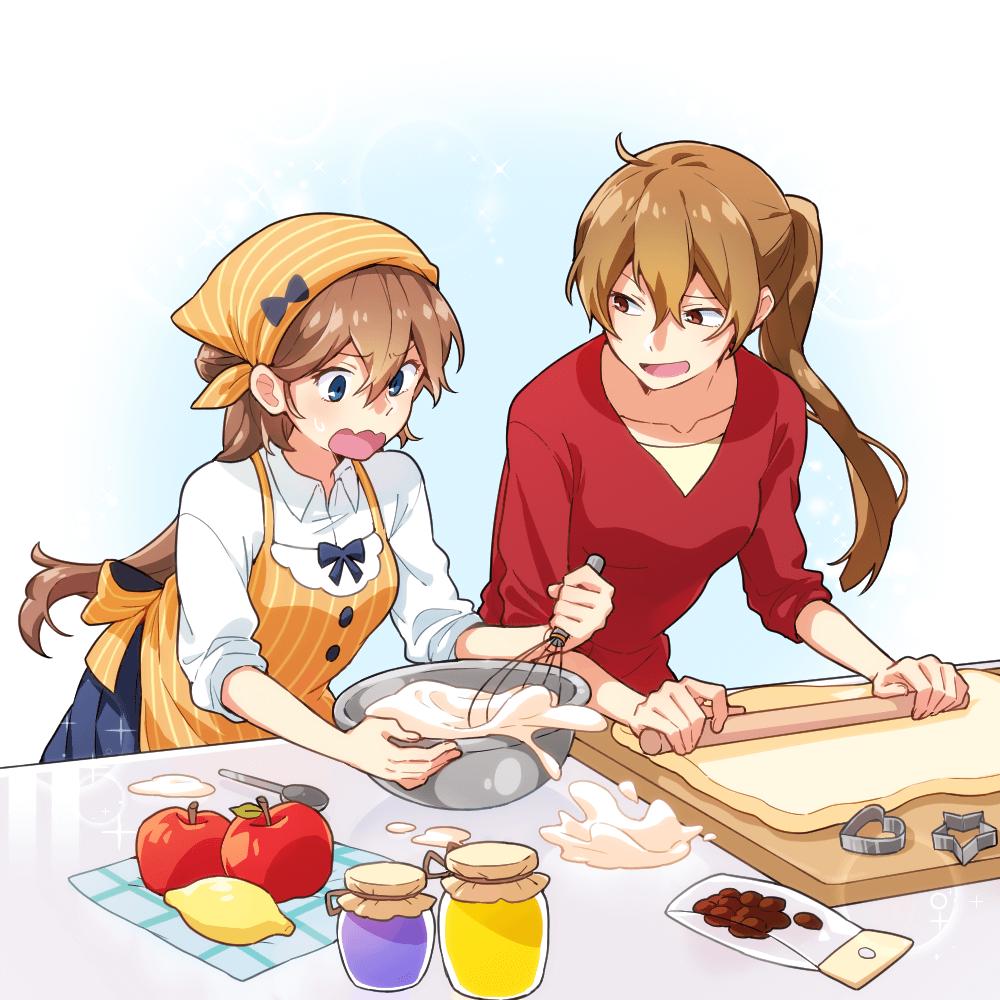 おかし作りをする女子高生とお姉さんのイラスト